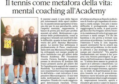 Ottobre 2016: Marcantognini all'Avellino Tennis Academy